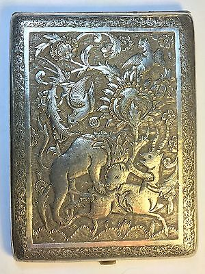 Vintage Persian Engraved solid silver CIGARETTE CASE
