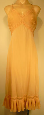Vintage Pink Slip Dress NightGown Negligee, Pleated & Lace Trim Lingerie Sz.38