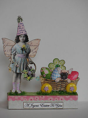 altered Spring Easter fairy mixed media miniatures paper pixie wood