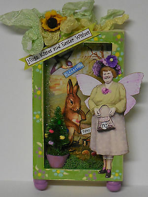 altered Spring Easter fairy mixed media miniatures paper pixie wood diorama