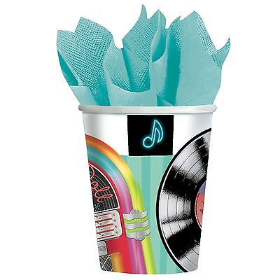 1950's Rock N Roll Party 9 oz PAPER CUPS Decor Retro 50's Grease Sock Hop 6-2B