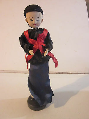 Vintage Chinese Girl Fabric Doll On Stand