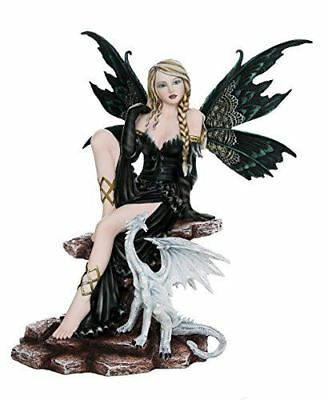 Large Fantasy Fairy with Black Dragon Figurine Fairyland Legends Decorative Stat