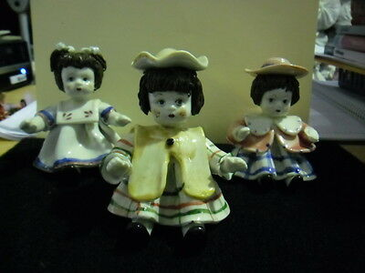 Vintage/Antique Ceramic Dolls Set of 3 Hand Painted Glazing