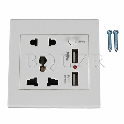 5 Hole Wall Plug and Wall Socket Power Switch  with 2 USB Port