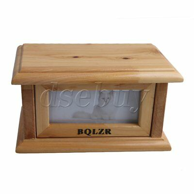 Pet Cremation Urn Memorial Flip-Open Box with Photo Frame Wooden Color