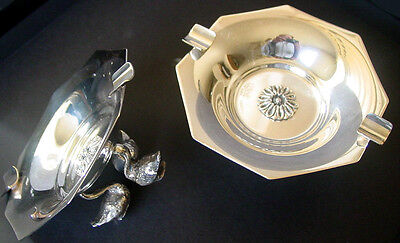 1980s Ornate SILVER PLATE 2 Decorative ASHTRAY SET /SWAN Leggs by MICKEL Unique!