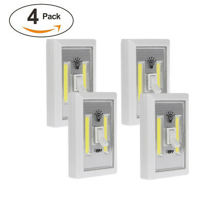 4Pack COB Switch LED Lighted Wireless Closet Night Light Multi-Use Self-Stick