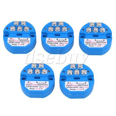 10Pieces DC 24V PT100 Temperature Sensor Transmitter 0-100 Degree Output 0-10V