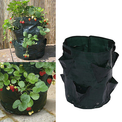 8 Side Pockets Garden Plant Grow Container Bag Flower Vegetable Herb Planter BT
