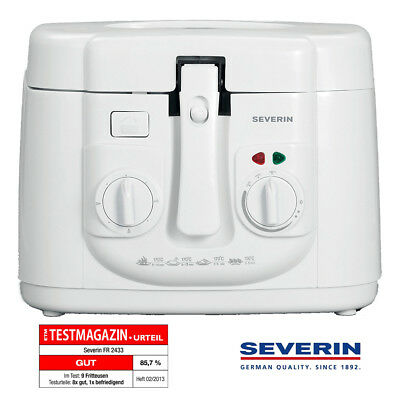 Severin Friteuse FR 2433 Weiß 2,5 Liter mit Timer Cooltouch Gehäuse Fritteuse
