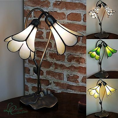 New Tiffany Stained Glass Lily Pad Table / Desk / Bedside 2 Lamp Art deco