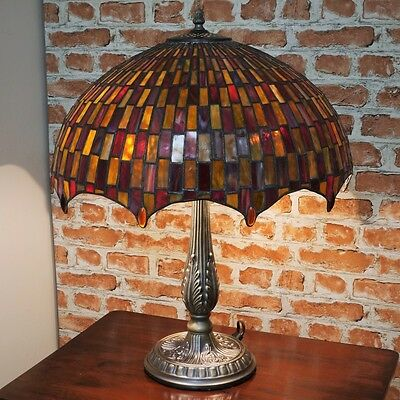 "New LARGE 18""Diameter Tiffany Stained Glass Table Lamp Moroccan Mosaic Hand Made"