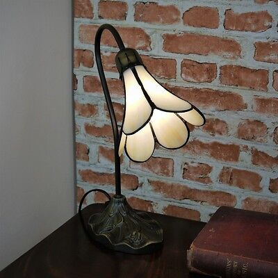 New Tiffany Stained Glass Ivory Lily Table / Desk / Bedside Lamp Art deco