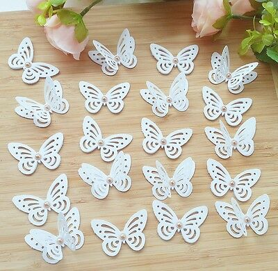 20x White Wedding Table Decorations 3D Butterfly with vintage gold pearls