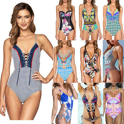 Women's One Piece Beach Swimsuit Swimwear Bathing Monokini Push Up Padded Bikini