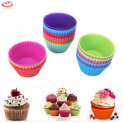 1/12pcs Silicone Cake Muffin Chocolate Cupcake Liner Baking Cup Cookie Mold