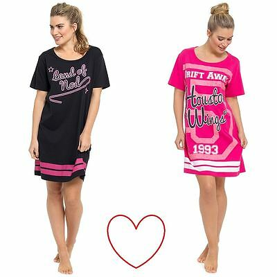 ladies black pink girls nightie slogan nightdress nightshirt short sleeve