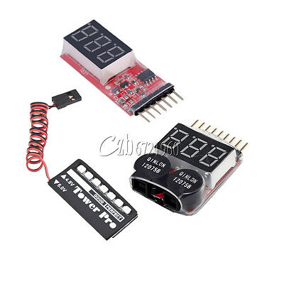 2-6S 1-8S Indicator Lipo Battery Voltage 2IN1 Tester Buzzer Monitor + RC Model