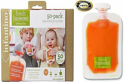 Squeeze Pouches Infantino 50 Count Fresh New Baby Food Station Feeding Puree 4fl