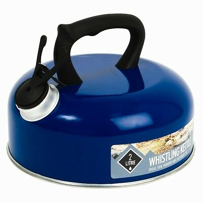 New 2 Litre 2L Blue Pendeford Whistling Kettle - Caravan Camping Fishing