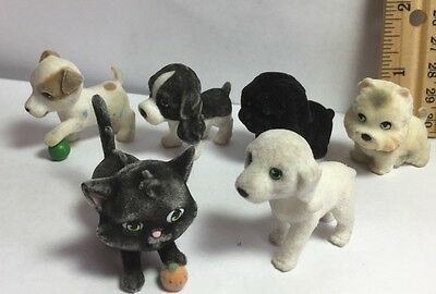 Puppy in My Pocket Toy PVC Flocked Dog Cat Puppies Mixed Lot Figure Cake Topper