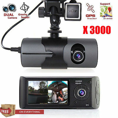 "2.7"" Dual Lens Dash Cam Full HD Car DVR Camera Video Recorder G-Sensor  US"