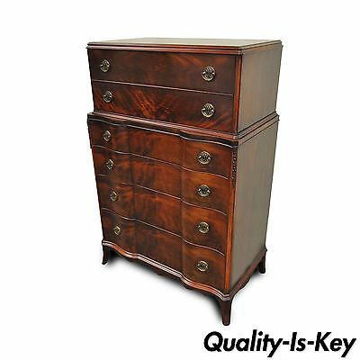 Vtg Williamsport PA Chippendale Style Mahogany Serpentine Front Chest Dresser
