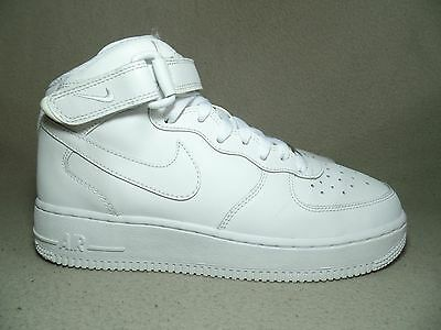 promo code 76e3e 5f406 NIKE AIR FORCE 1 MID GS Triple White Leather Trainers UK 5.5