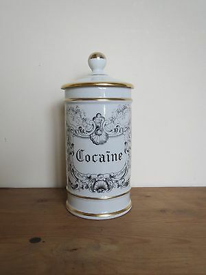 French Limoges Porcelain apothecary pharmacy jar 'Cocaine'