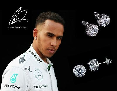 Men's Lewis Hamilton 18ct White Gold Plated Large Multi Diamond Crystal Earrings