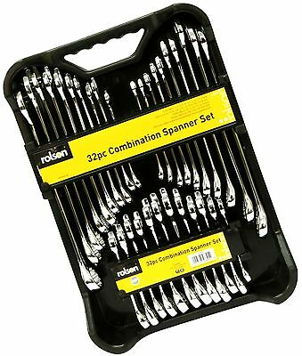 32 pc Combination Spanner Set Stubby Ring SAE / Metric Polished CR-V 12 Point