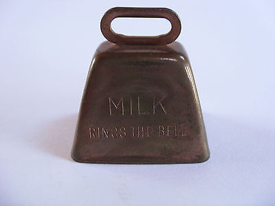 """Vintage Miniature Copper Dairy Cow Bell  """" Milk Rings The Bell """""""
