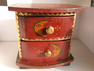 Antique Vintage Wooden Chest of Drawers for Jewelry with 2 drawers Hand Painted