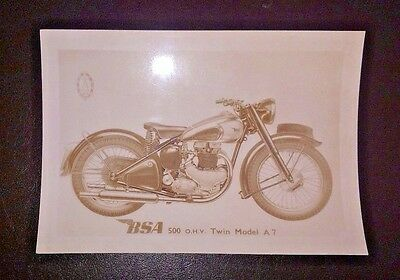 Vintage photo BSA MOTORCYCLE 500 ohv Twin Model A7