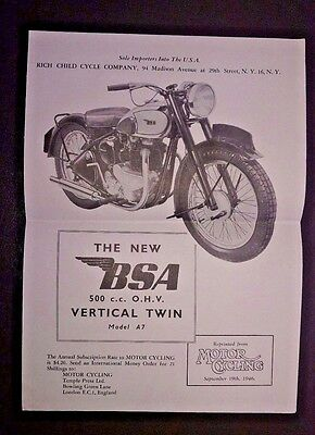 Vintage brochure BSA MOTORCYCLE 500 cc OHV Vertical Twin A7 Motorcycling Mag '46