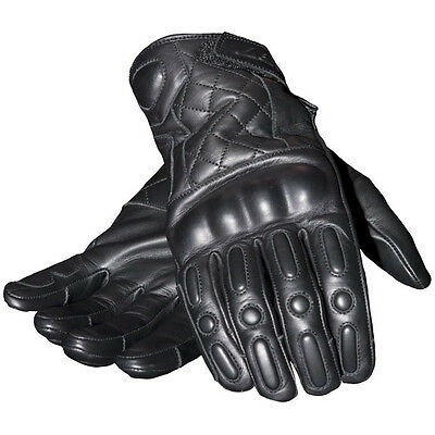 RST Retro Leather Motorcycle Gloves - Black