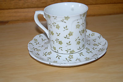 J G Meakin Sterling Forget Me Not Tea Cup & Saucer Set Green England