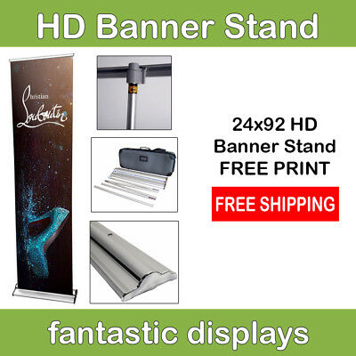 "24"" Pro Line Retractable Roll Up Banner Stand with Print Included"