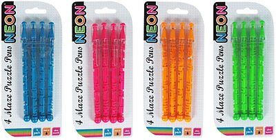 Maze Ballpoint Pens - 1 Pack of 4 Pens - Assorted Colours