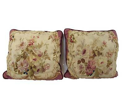 Pair of French Aubusson Tapestry Pillows, 19th Century , Velvet Back, Square