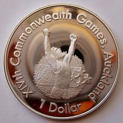 New Zealand 1989 Auckland Commonwealth Games Proof Silver $1 Coin