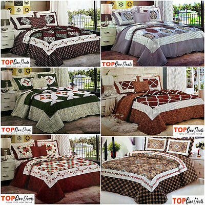 LUXURY 3pcs Quilted Bedspread Throw Comforter Set 2 Pillowcases Double King Size