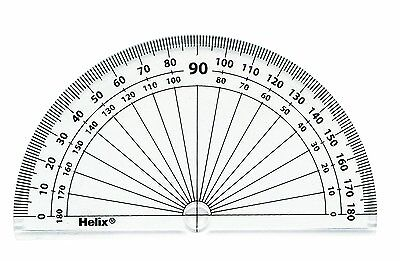 Helix 10cm - 180 Degree Clear Protractor Reverse Scale Exam Student School Item