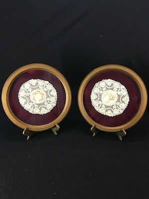 Beautiful Framed Antique Needlepoint Doilies (lh248)
