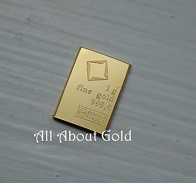 Solid GOLD Bar ~ 1 gram VALCAMBI SUISSE Switzerland Fraction COMBIBAR .9999 BU
