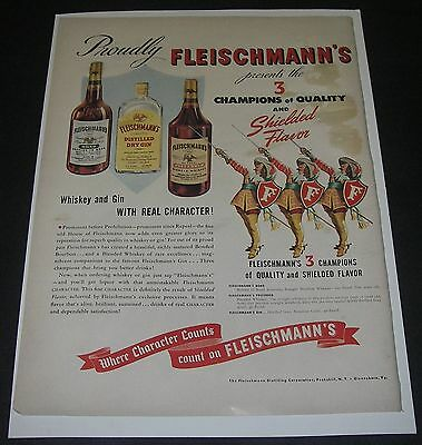 Print Ad DISTILLERY 1941 Fleischmann's Gin Santa Uncle Sam Botany Ties Fashion