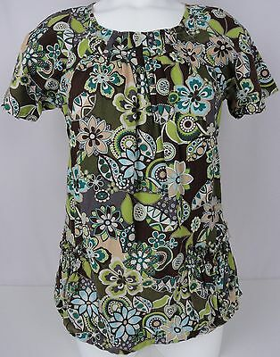 Koi By Kathy Peterson Scrub Top M Womens Pleated Neck Floral Nurse Medical Shirt