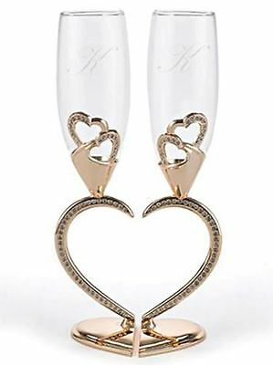 Rose Gold Rhinestone Connected Heart Wedding Toasting Glasses Champagne Flutes