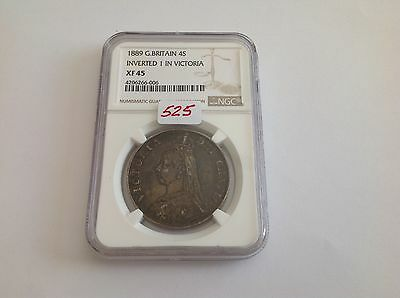 1889 Great Britain 4 Shillings Inverted 1 in Victoria NGC XF 45